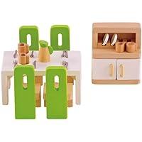 Hape E3454 Esszimmer, grüne Stühle/weißer Tisch/schrank mit weißen Türen