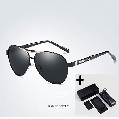 LKVNHP Fashion Brand Herren Polarized Alloy Sonnenbrille Herren Driving Shield Eyewear SonnenbrilleSilber
