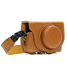 MegaGear MG598 Sony Cyber-shot DSC-HX99, DSC-HX95, DSC-HX90V, DSC-HX80 Ever Ready Leather Camera Case with Strap – Light Brown