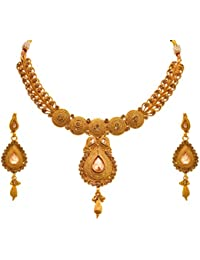 JFL - Traditional Ethnic One Gram Gold Plated Diamond Designer Necklace Set With Earrings For Women & Girls.