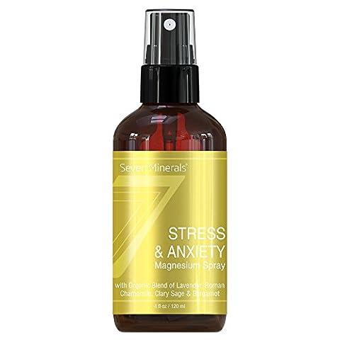 Stress & Angst Magnesium Spray. Stressbewältigung mit Magnesiumchlorid und bio Mischung aus Lavendel, Römischer Kamille, Muskatellersalbei & Bergamotte. Fühlen Sie sich gelassen und stressfrei mit Magnesiumöl 120ml