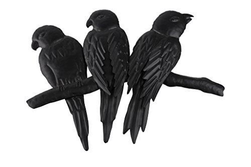 TS Wand-deko Gardendeco 3 Papageien Iron, pulverbeschichtet, schwarz, 40 x 3 x 32 cm, 134419