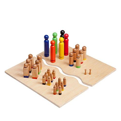 Kenley Familienbrett Systembrett mit Figurenset - Familienaufstellung Brettspiel Holzfiguren Set - 32 Figuren - Holz