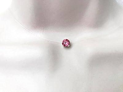Collier ras du cou strass de swarovski cristal rose indien fil de nylon transparent