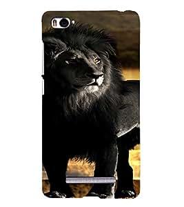 PrintVisa Black Lion Animal Design 3D Hard Polycarbonate Designer Back Case Cover for Xiaomi Redmi Mi4i