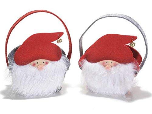Ideapiu Handtasche in Tuch A Weihnachtsmann mit Bart und Glocke
