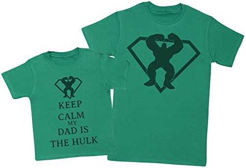Zarlivia Clothing Keep Calm My Dad Is The Hulk - Matching Father Kids Gift Set - Mens T Shirt & Kid's T Shirt