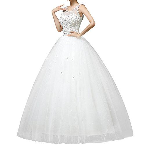 2015 nouveau Robe mariée Robe de mariage femme blanc élégante dentelle à dos nu avec des fleurs (XXL / FR 40)