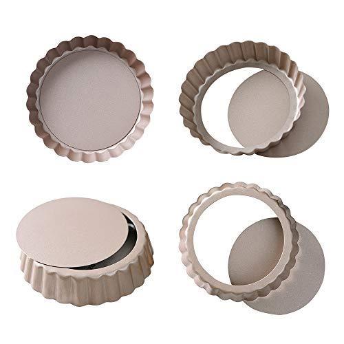 Bakerdream Quiche-Pfanne, Antihaftbeschichtung, Abnehmbarer Boden, Mini-Tartpfanne, rund, 4 Stück 3.5
