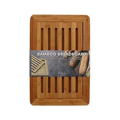 DRULINE Brotschneidebrett Bambus mit Krümelfach Schneidebrett robust Krümelgitter
