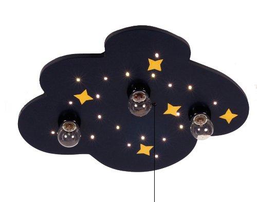 Niermann Standby 638w Deckenleuchte Wolke blau, mit Mond und Sternen, inklusive Leuchtmittel: 3 x E14 max.40 Watt + 10 Lichtpunkte, 47 x 35 x 8 cm, Schlummerlichtfunktion über Zugschalter, Made in Germany