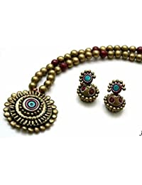 IJE Gold Color Terracotta Necklace Set For Women