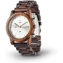 LAiMER Chronograph Holzuhr Mod. Damian | 100% Sandelholz | Naturprodukt | Südtirol | federleicht | allergikerfreundlich | nachhaltig | angenehmer Tragekomfort |