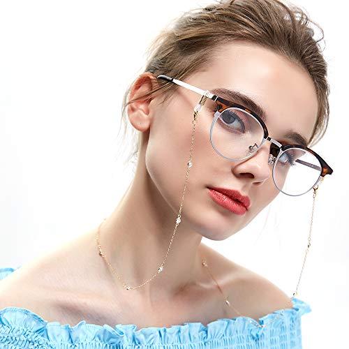 Brillenketten für Sonnebrillen Frauen Lesebrille Kette mit Weiß Bohren Gold BrilleBand Brille Cords Hals Cord Strap Mode Damen Brille Kette HalterBrillenkordel für Sonnenbrille Brillenbändel