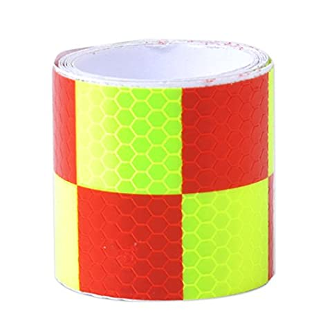 Red & Light Green 2X118 Chequer Reflective Safety Warning Conspicuity Tape Marking Film Sticker by