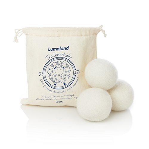 Lumaland Trocknerbälle aus 100% Premiumwolle von Neuseelandschafen natürlicher Weichspüler aus Wolle 4 - Tennisbälle Daunen Trockner