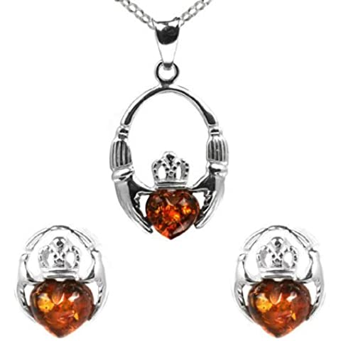 Ambra baltica color miele-Orecchini a perno, Claddagh, in argento Sterling e collana in catena rolò 46 cm