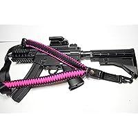 Acid Tactical® 550 ParaCord Corda da paracadute tracolla per fucile dotata di bussola e silice per Paintball, 127 cm, colore: rosa carico - Paintball Gun Slings