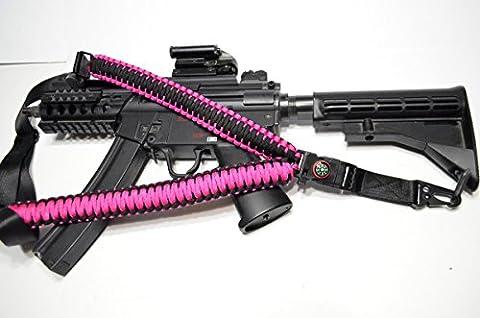 Acide tactique® PARACORDE 550Corde de parachute Rifle Gun Sling Avec boussole et Flint 127cm pour airsoft/paintball–(Rose Vif) - Paintball Gun Slings