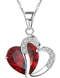 BOOLAVARD Collier avec Pendentif Mode Cristaux Autrichiens Coeur Shape + Boite Cadeau (Rouge Rubis)