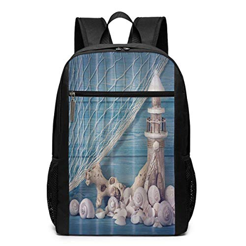 Homebe Rucksäcke,Daypack,Schulrucksack Lighthouse Seashells and Blue Wooden Board Laptop Backpack for Women Men Stylish Backpack College School Backpack Business Travel Durable Backpack Fit Laptop