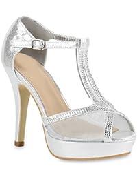 SHOWHOW Damen Glitzer Spitz Stiletto Cut Out High Heels Riemchensandalen Silber 42 EU 41kcXloslS