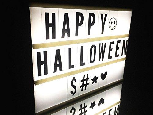 Cimostyle DIY LED Lightbox Leuchtkasten Lichtbox Kino Box A4 Größe Individuell Gestaltbar LED Kino Lightbox Mit 90 Buchstaben Ziffern und Zeichen Leuchten Ihrem Leben Halloween Dekoration (A4 Mit (Film Halloween Zeichen)