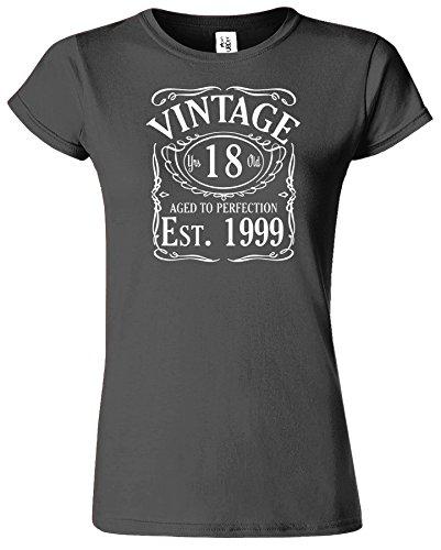 VINTAGE EST 1998 Ladies TShirt Born 18th Year Birthday Present Ladies Tshirt Gift Anthrazit / Weiß Design