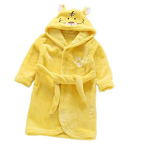 DINGTAIMEI Kinder Vermummte Flanell Plüsch Bademäntel Winter Tiger Panda Gewand Pyjama Nachtwäsche für 3-8-Jährige Jungen und Mädchen (Tiger gelb, 5 Years) -