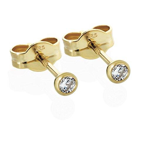 NKlaus Paar Ohrstecker Gold 585er Cubic Zirkonia Damen Herren Kinder