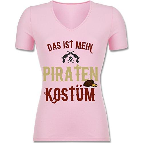 (Karneval & Fasching - Das ist Mein Piraten Kostüm - L - Rosa - F281N - Tailliertes T-Shirt mit V-Ausschnitt für Frauen)