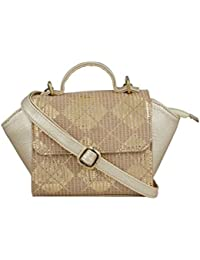 TARUSA Gold Faux Leather Fabric Geometric Sling Bag For Women
