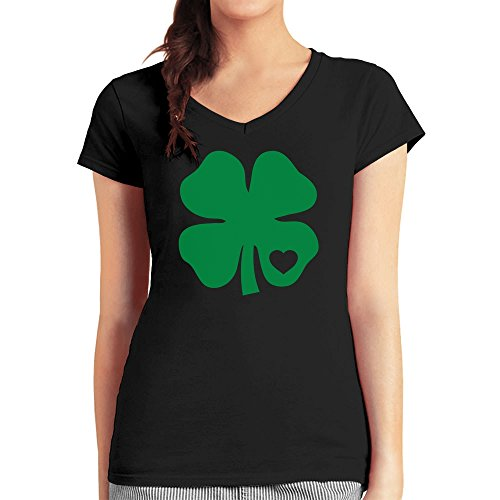 St. Patrick's Day Green Clover Heart Irish Shamro Damen T-Shirt V-Ausschnitt Medium Schwarz (T-shirts Green-day-bedruckte)