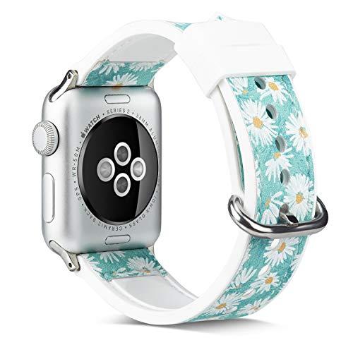 Apple Green Leder (Ginamart Ersatz-Uhrenarmband für Apple Watch, 38/40 mm, 42/44 mm, florales weiches Silikon und Leder, für iWatch Serie 4, 3, 2, 1, Damen, Apple Watch floral Leather Band, Green Daisy, 38mm (40mm))