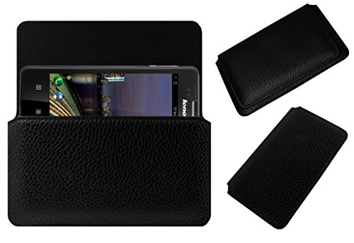 Acm Horizontal Leather Case For Lenovo A600E Mobile Cover Carry Pouch Holder Black  available at amazon for Rs.179
