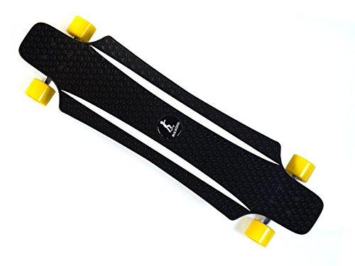 MAXOfit® Kunststoff Longboard XP 5.0 (gelb/Weiss), 92 cm, extrem robust und sehr gut lenkbar, der neueste Trend