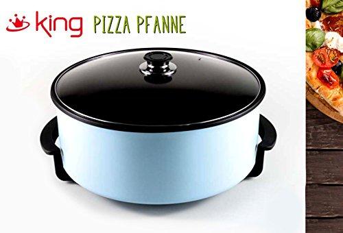 Elektrische Partypfanne Pizzapfanne paellapfanne Multipfanne versch. Farben | Durchmesser ø42cm (Blau, 13)