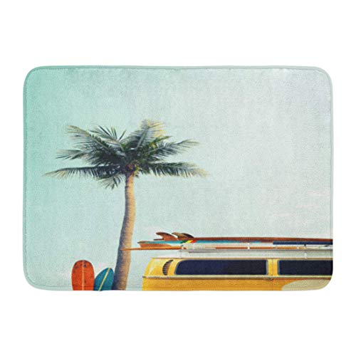 JIILWKIE Doormats Bath Rugs Outdoor/Indoor Door Mat Vintage Car Parked Tropical Beach Seaside Surfboard Roof Leisure Trip in The Summer Retro Color Effect Bathroom Decor Rug 23.6x15.7 inch 7 Color Twin Pack