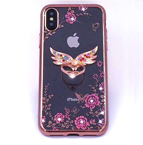 iPhone XR Schutzhülle für Damen/Mädchen, weiches TPU, mit Blumenmuster, 3D, luxuriös, glitzernd, Kristall-Diamanten-Ring-Halter, stoßfest, für Apple iPhone XR (15,1 Zoll), Rotgold -
