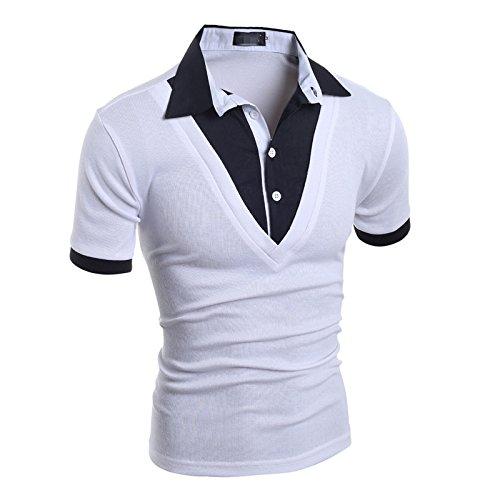 Swallowuk Herren Casual Poloshirt Slim Fit Kurzarm T-Shirt Top (XXL, Weiß)