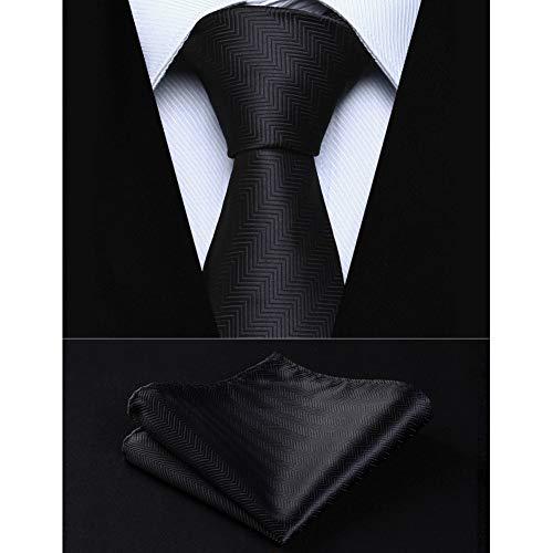 KYDCB Party Wedding Classic Einstecktuch Krawatte Solid Black Stripe 3,4