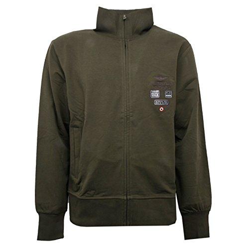 Aeronautica militare c0972 felpa uomo verde militare con zip sweatshirt men [xl]