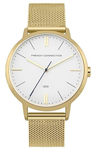 French Connection Hombres de acero inoxidable reloj de cuarzo con esfera analógica blanca y dorado chapado en oro pulsera fc1263gm