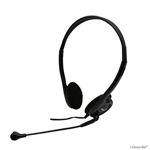 Plus de Casques serre-tête avec micro (2x de Prise Jack 3,5 mm) réglable microphone intégré Casque pour PC, Ordinateur portable, Skype, MP3 | Accessoires Audio par iCHOOSE®