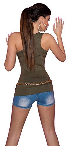 Koucla Damen Shirt mit Trägern Top Gr. S - XL sowie Einheitsgröße (36-42) Khaki