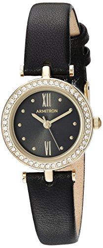 Armitron Women's 75/5504BKGPBK Swarovski Crystal Accented Gold-Tone and Black Leather Strap Watch