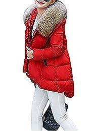Abrigos de Mujer Casual Espesar Cálido Invierno Abrigo Acolchado Chaquetas con Capucha de Piel Outwear