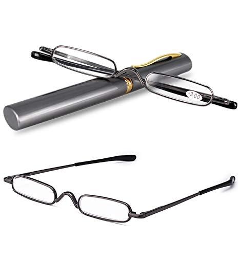 VEVESMUNDO® Lesebrille Damen Herren Federscharnier Metall Schmal Klein Mini Leicht Lesehilfe Sehhilfe Klare Arbeit Brillen Stärke mit Etui (Dunkelgrau, 2.25)