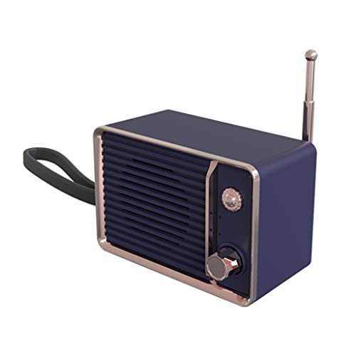 Mini Bluetooth Dekorative Sound Retro TV Stil HIFI Tragbare Drahtlose Bluetooth-Lautsprecher Stereo Sound TF Karte USB mit Handschlaufe Antenne Dekoration (Blau)