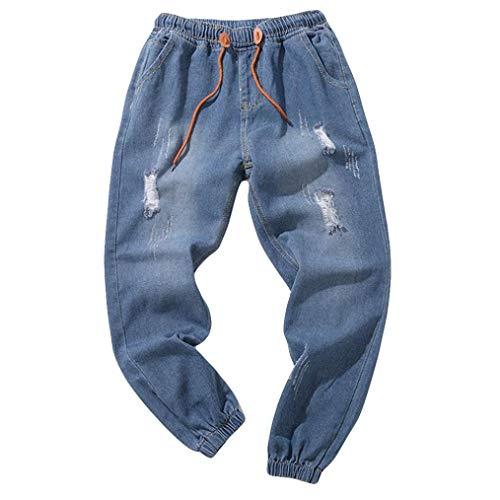 Elecenty pantaloni da uomo jeans da lavoro vintage in cotone denim vintage lavato vintage denim slim fit strappati con cerniera (size:5xl, blu)